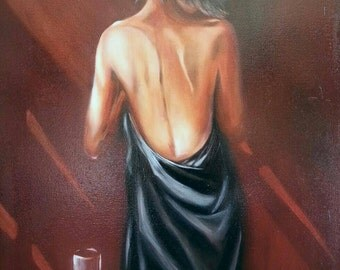Morning, oil painting on stretched canvas, 24x30 inches, FREE SHIPPING to US.