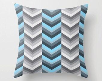 Blue gray pillow, chevron pillow, Decorative throw pillow, modern cushion covers, Geometric pillow, home decor pillow, holidays gift