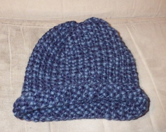 Blue Speckled Baby Hat