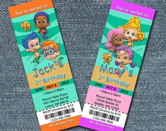 Bubble Guppies Invitations - ticket style girl and boy