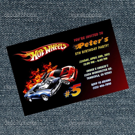 Hot Wheels Invitations Race Car Birthday Party By
