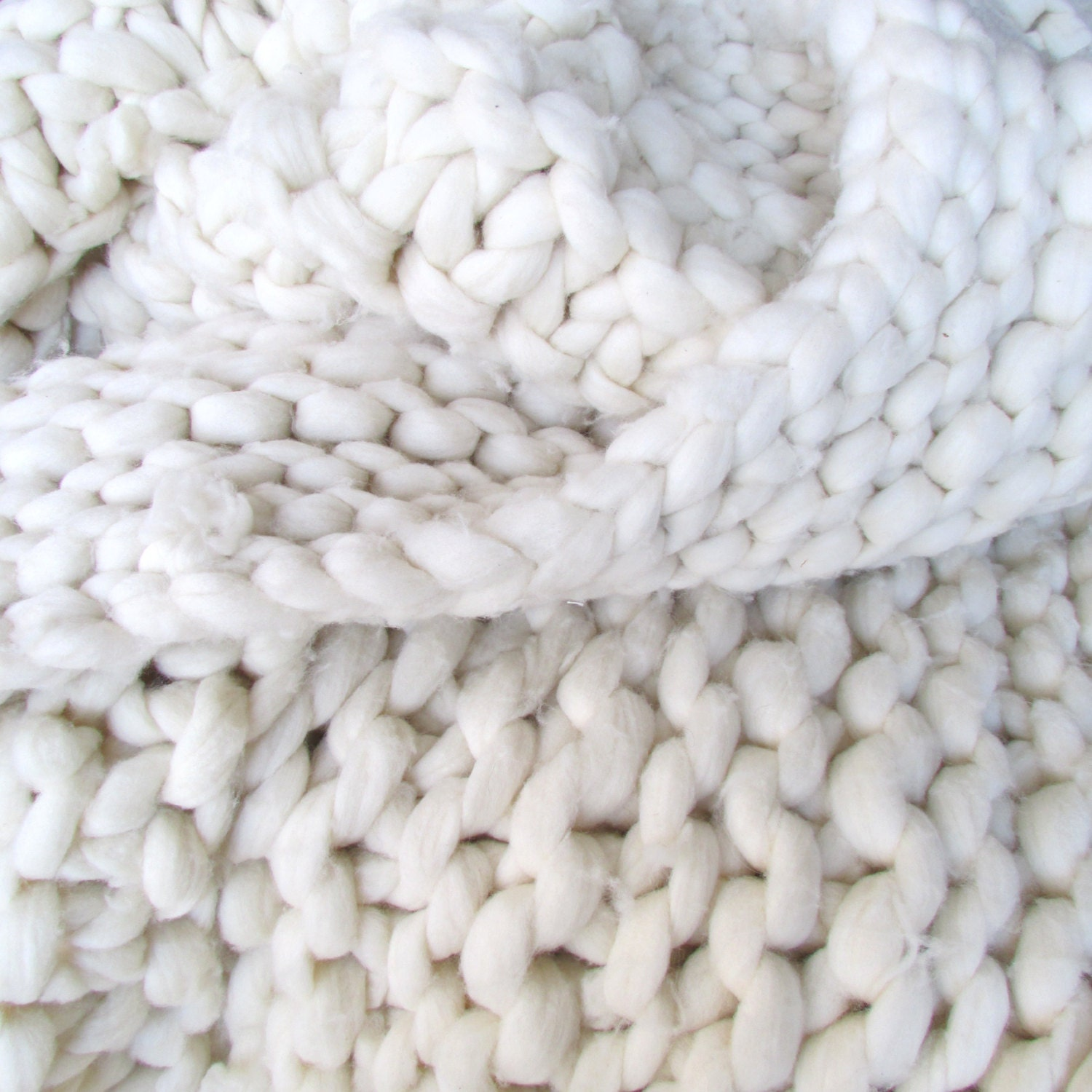 Knitting Wool Blanket : Super chunky hand knit merino wool throw blanket by