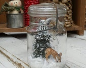 Rustic/Vintage Mason Jar Winter Animal Snow Globe