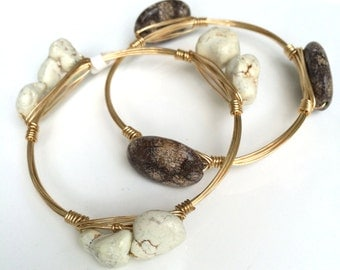 White Jasper Nugget Wire Wrapped Bangle