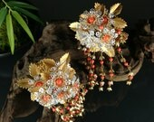 "Japanese vintage hair clips  brilliant ""Kanzashi"" 2/  Geisha hair clips  / Hair comb / Japon / Japonism"