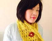 Buttoned Shell Crochet Cowl