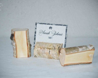 Wooden place card holders set of 25, rustic wedding name card holders, shabby chic card holders, anniversary, birthday, party birch holders