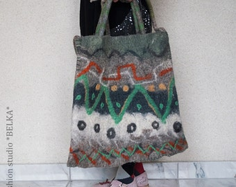 felted bag, handmade, unique, wool, art