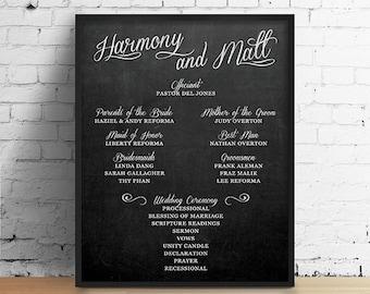 Chalkboard Wedding Program Sign, Printable Wedding Program Sign, Chalkboard Program Sign, Wedding Decor, Wedding Signage