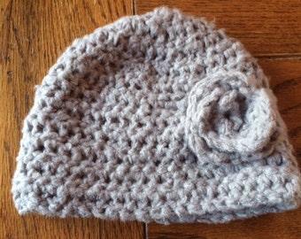 Crocheted Hat, Baby, Toddler, Earthy Gray, Ultra Soft, Rosette, Flower
