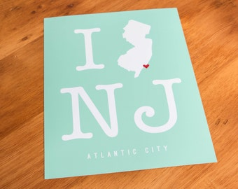 Atlantic City, NJ - I Heart NJ - Art Print  - Your Choice of Size & Color!