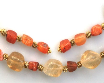 Luscious Pineapple Quartz and Red Agate Bracelet and Earring Set