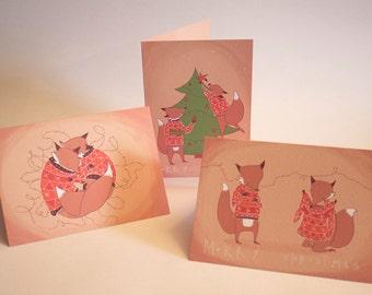 Set of THREE Fox Christmas Cards