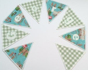 Personalized Cath Kidston Fabric Bunting Priced per flag, London, Car, Gingham, New Baby, Birthday Gift, Personalised, Handcrafted, Green