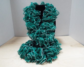 Crochet Ruffled Scarf, Handmade Christmas Green and Lacy Silver Accent Winter / Warm Scarf, St. Patrick's Day Scarf