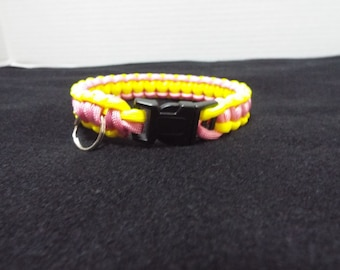Paracord Dog Collar, Small Handmade Paracord / 550 cord Pet Collar, Pink and Yellow Custom Survival Animal Collar done in Cobra Stitch