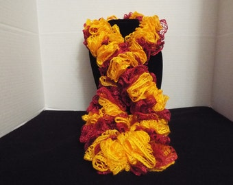 Team Spirit Crochet Ruffled Scarf, Handmade Ruffle Red / Scarlet and Yellow / Gold Lacy College Football