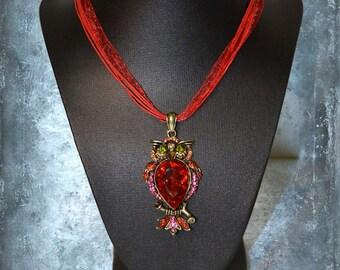 Necklace Pendant Owl cristal chic modern steampunk