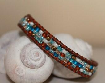 Leather single Wrap bracelet ,Lovely blue