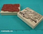 Singing Birds ATC Stamp / Invoke Arts Collage Rubber Stamps