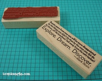 Explore Dream Discover Quote Stamp / Invoke Arts Collage Rubber Stamps