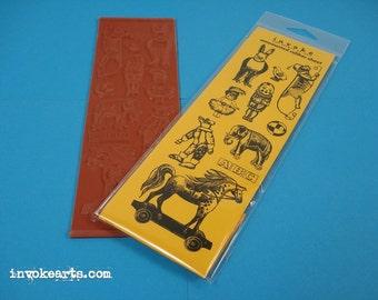 Vintage Toys / Invoke Arts Collage Rubber Stamps / Unmounted Stamp Set