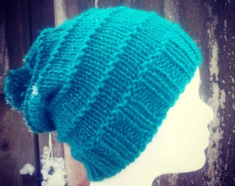 Turquoise Knit Beanie with a glitter effect * * Bobble Hat Beanie