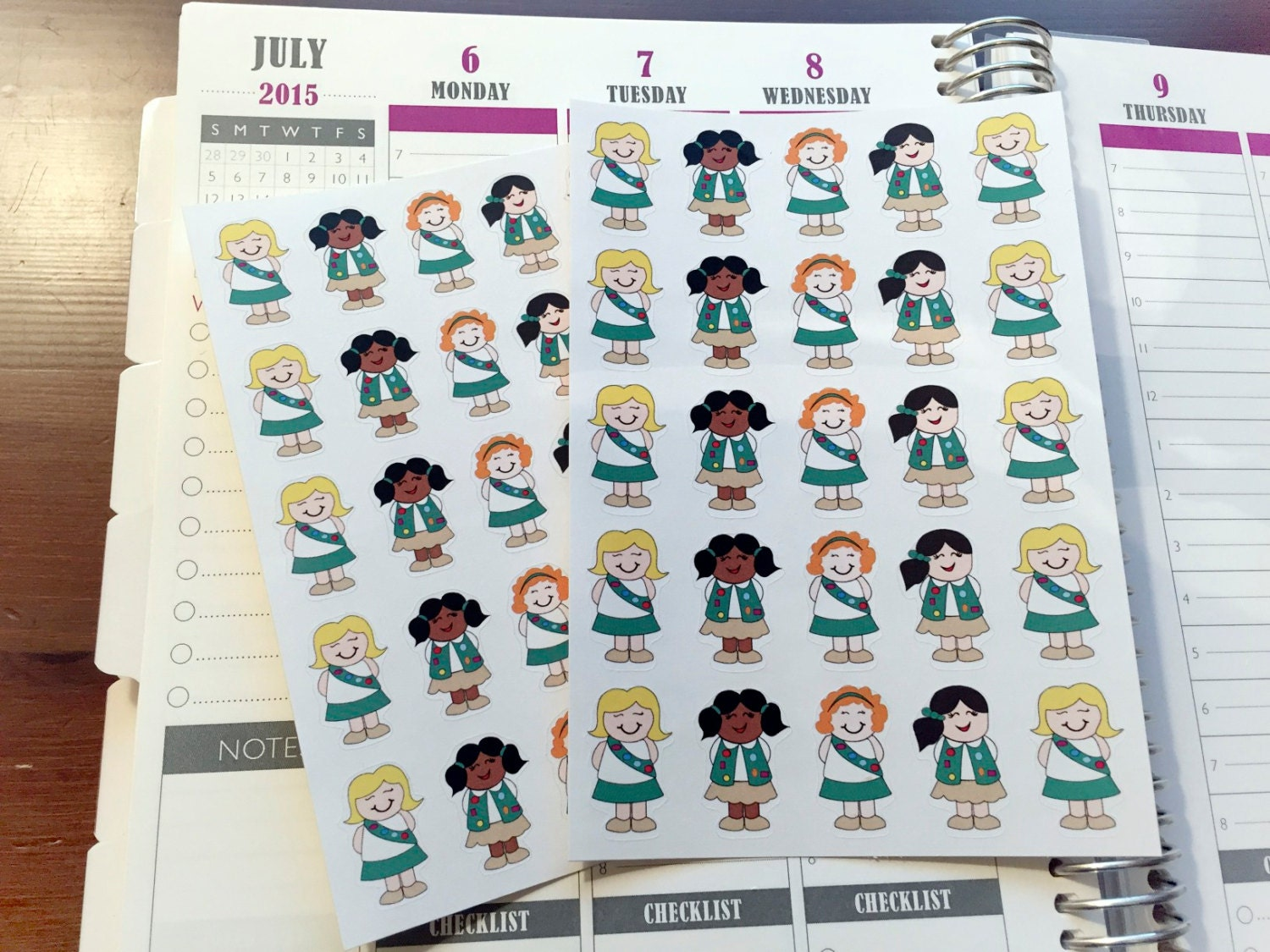 girl scout brownie planner stickers set of by blackcoffeensweettea. Black Bedroom Furniture Sets. Home Design Ideas