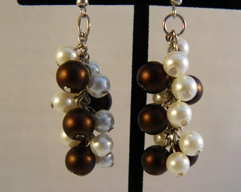 Brown and Ivory Pearl Cluster Earrings