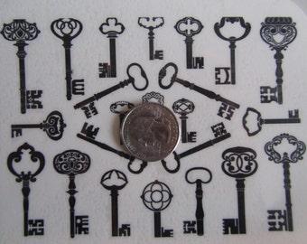 Temporary Tattoo - Vintage Keys / Set of 23 Keys / Set of 6 Skulls / Set of 6 Tally Marks