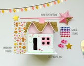 READY TO SHIP // Fairy House Craft Kit and Fairy Wand, Includes Stickers, Stars, and Gems