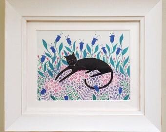 Cat Among Flowers, Art Print
