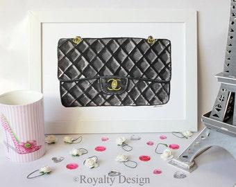 Fashion illustration print - Chanel bag, watercolor print