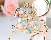 Flying HORSE Fashion Swarovski Rhinestone Crystal Purse Bag Car Key Chain Creative Gift