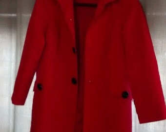 Vintage Anne Klein Jacket Red Coat Size Small Outerwear Gift