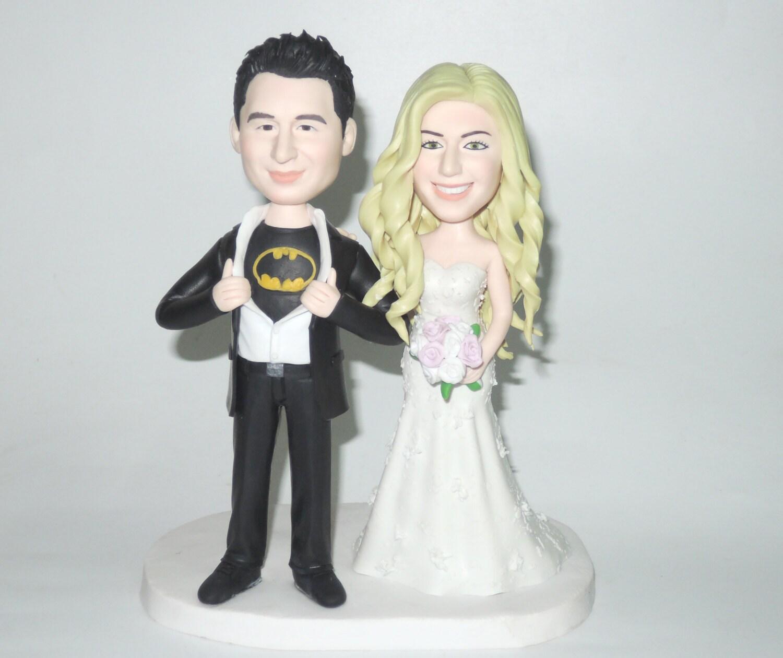 Custom wedding cake topper funny cartoon bride and groom