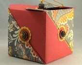 Origami Gift/Art Box: Paprika and Paisley with Sterling and Silk Accents!