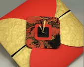 Reserved for Lacey: Extra Large Graphic Handcrafted Envelope with Red, Gold, Black Marbling Accent