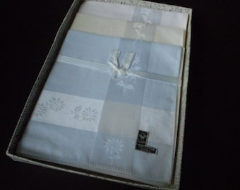REDUCED - French vintage set of six pure cotton ladies handkerchiefs  (x)