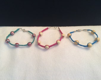 Pink and blue bracelet trio