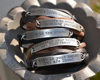 Inspirational Leather Bracelet - Braided Leather Bracelet - Stamped Silver Quote Word Band - Snap Closure - Leather Cuff - Leather Bracelets