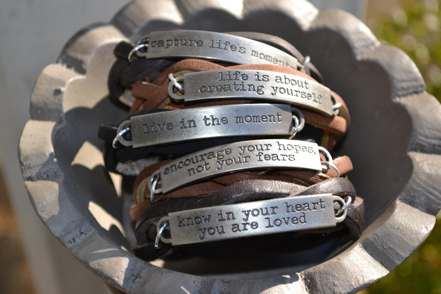 inspirational leather bracelet quote jewelry braided
