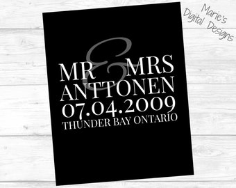 Wedding Anniversary Print - Black & White Couple's Name / Printable Personalized Digital File