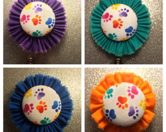 Paw Prints Retractable Badge Holder. ID Holder. Purple with Paw Prints.