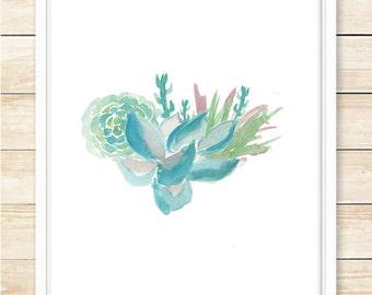 8x10 Succulent Wall Print, Succulent Art, Printable Home Decor, Blue, Green, Succulent Wall Art, Gift, Succulent Poster,coffeeandcoco