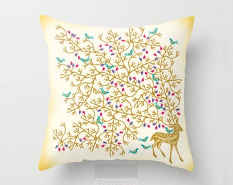 Golden Surreal Deer Decorative Throw Pillow Cover. Golden dear and birds Pillow Cover. 18 inch. Double sided Print