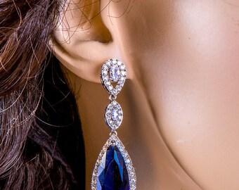 Crystal Bridal Earrings, Cubic, Zircon Long Heavy Dangling Earrings Vintage Queen Wedding Jewelry. Dark Blue. STl1