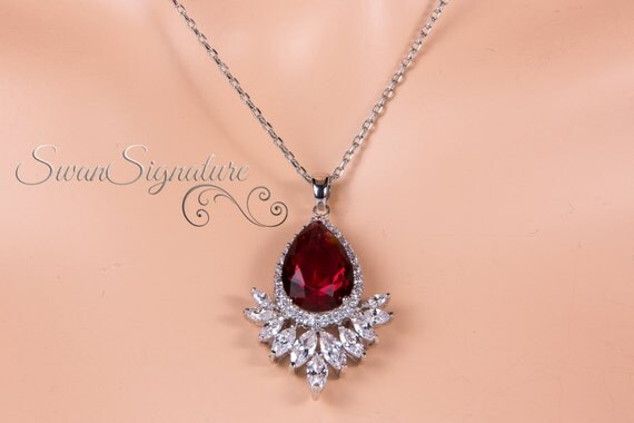Ruby Teardrop Necklaceteardrop Pendant Wedding Jewelry Prom