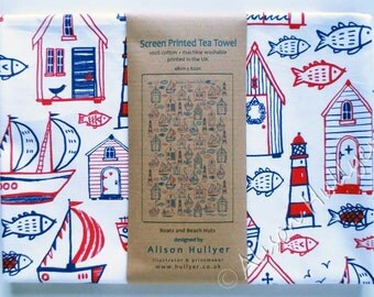 Tea towel - Boats & Beach Huts screen-printed (white or cream)