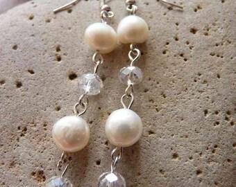 Freshwater Pearl & Crystal Earrings
